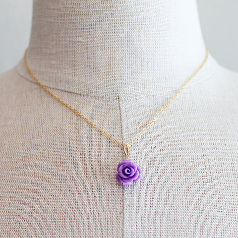 Purple rose Czech Glass Kids Keepsake Necklace by Sage