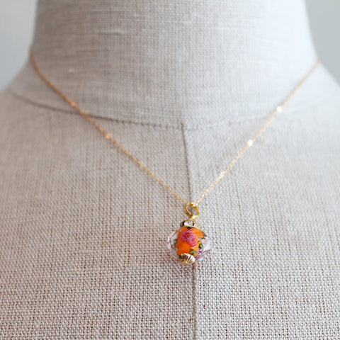 Orange Rose Czech Glass Kids Keepsake Necklace by Sage