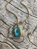 BLUE TURQUOISE LOTUS NECKLACE BY SAGE MACHADO, ARIZONA TURQUOISE GOLD NECKLACE