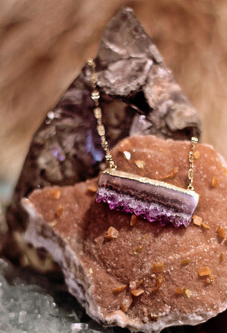 Fallen Moon Raw Cape Amethyst on bar chain necklace by Sage