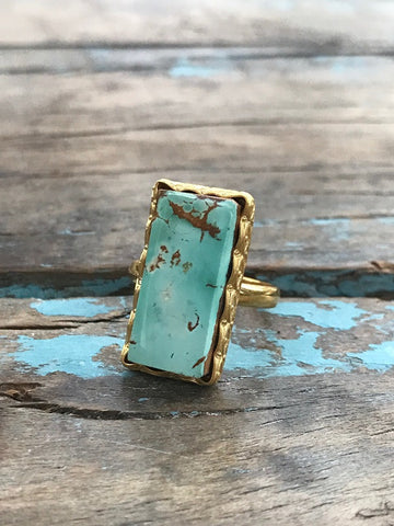 ARIZONA TURQUOISE GOLD RING BY SAGE MACHADO, SKY BLUE TURQUOISE ONE OF A KIND RING