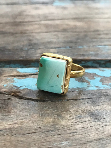 ARIZONA TURQUOISE GOLD RING BY SAGE MACHADO, SKY BLUE SQUARE TURQUOISE ONE OF A KIND RING