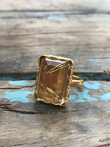 GOLD RUDILATED QUARTZ RING BY SAGE