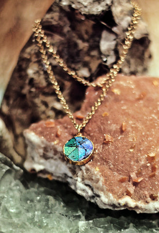 Fallen Moon Mystic Topaz circle pendant on gold cable chain necklace by Sage - The Sage Lifestyle