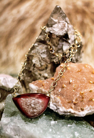Fallen Moon Raw druzy quartz and carnelian on gold links chain necklace by Sage - The Sage Lifestyle