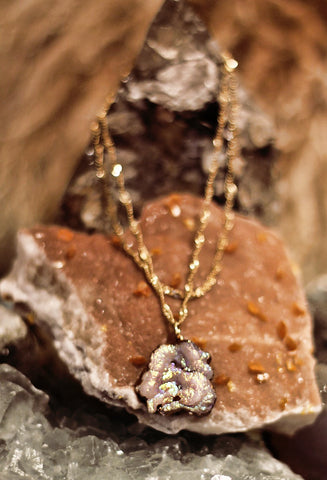 Fallen Moon Fossilized coral on braided gold chain necklace by Sage - The Sage Lifestyle