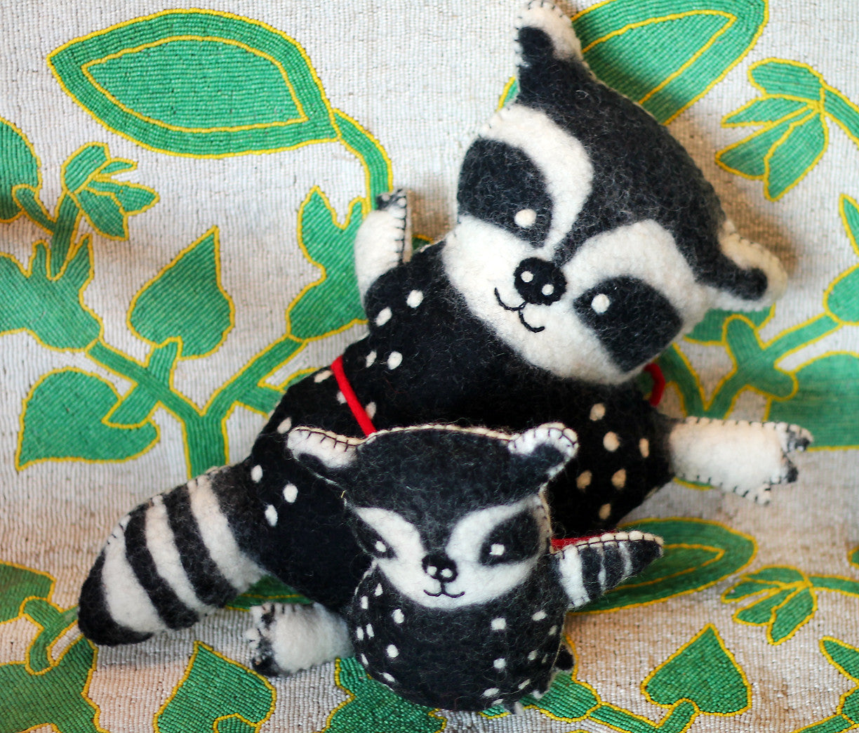 Racoon mother and child felted wool animals at The Sage Lifestyle - The Sage Lifestyle