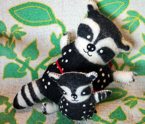 Racoon mother and child felted wool animals at The Sage Lifestyle