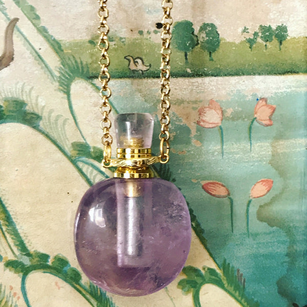 Green Flourite Angelina Gemstone Perfume Bottle Gold Necklace by Sage Machado - The Sage Lifestyle