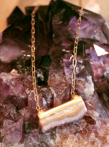 Raw Amethyst on Rectangular Chain Necklace by Sage