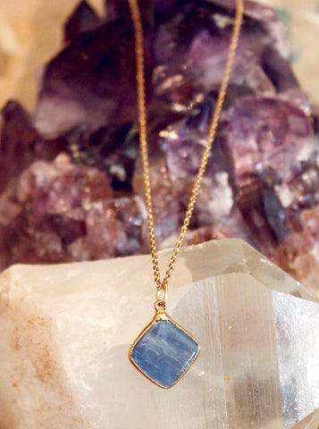Kyanite Diamond Charm Necklace by Sage