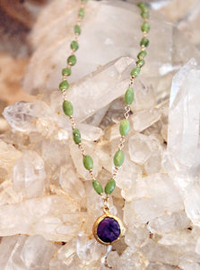 Sugilite Charm on Jade Necklace by Sage - The Sage Lifestyle