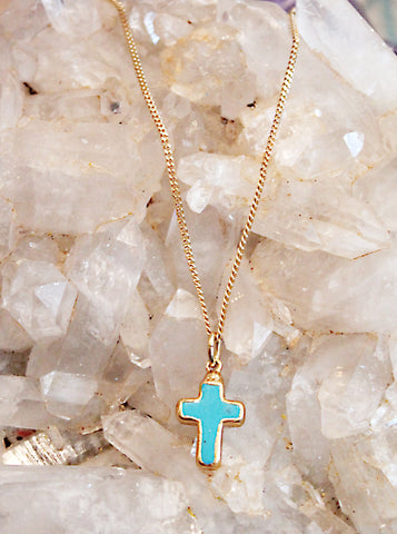 Turquoise Cross Necklace by Sage