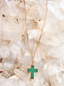 Aventurine Cross Necklace by Sage - The Sage Lifestyle
