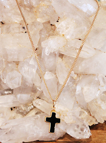 Black Onyx Cross Necklace by Sage - The Sage Lifestyle