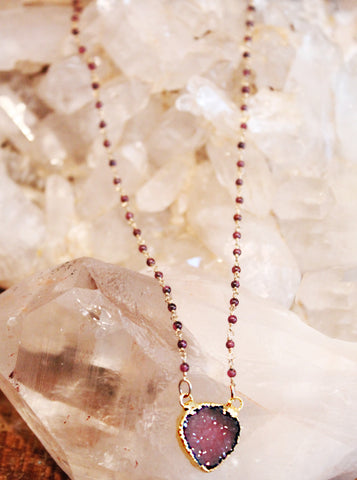 Druzy Agate Charm on Garnets Necklace by Sage - The Sage Lifestyle