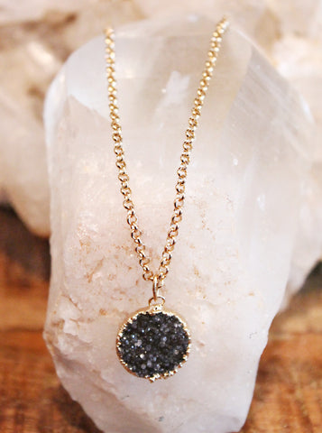 Druzy Agate Circle Necklace by Sage