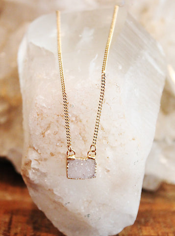 Druzy Agate Rectangular Charm Necklace by Sage