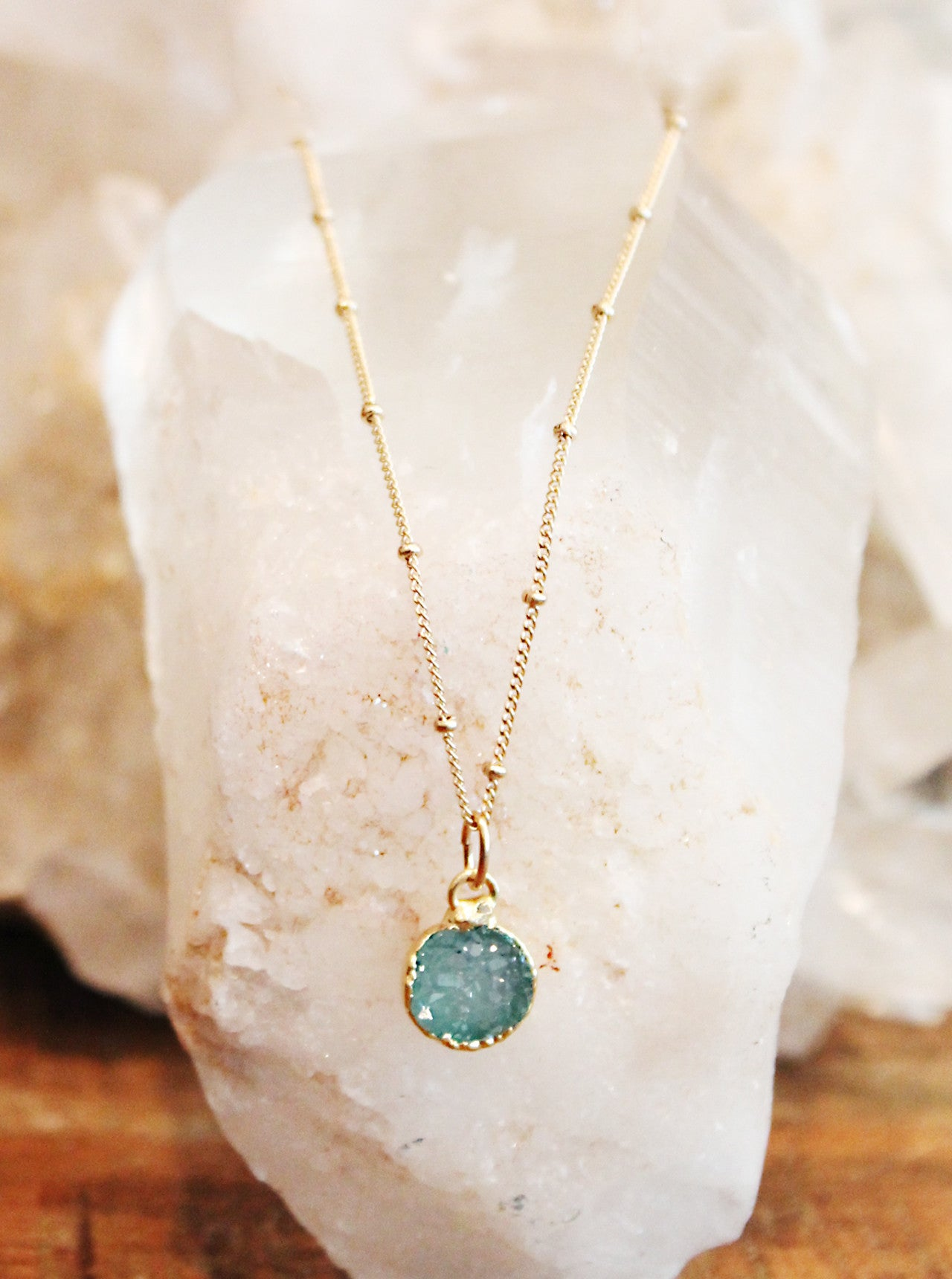 Druzy Agate Green Charm Necklace by Sage - The Sage Lifestyle