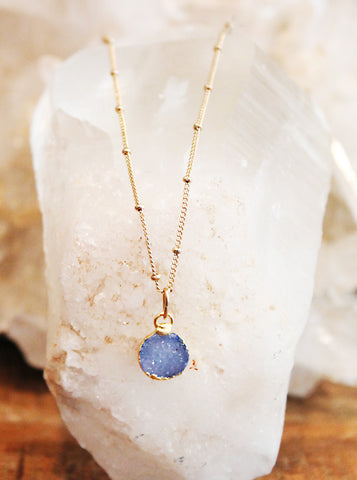 Druzy Agate Blue Charm Necklace by Sage