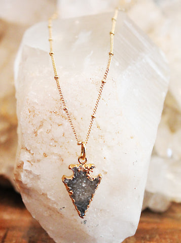Druzy Agate Grey Arrowhead Necklace by Sage - The Sage Lifestyle