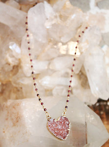 Druzy Agate Heart Necklace by Sage - The Sage Lifestyle