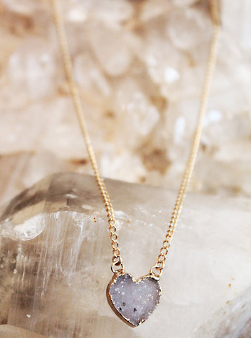 Druzy Agate Small Heart Necklace by Sage