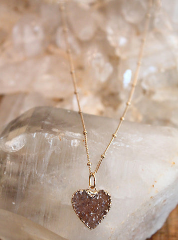 Druzy Agate Mauve Heart Necklace by Sage