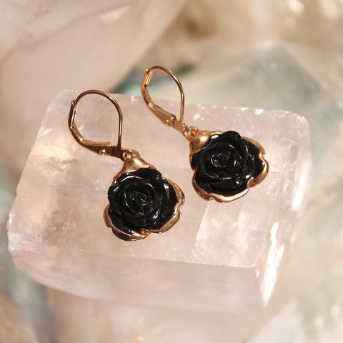 Black Howlite Roses Earrings by Sage - The Sage Lifestyle