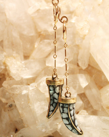 Mother of pearl inlaid horn drop Earrings by Sage
