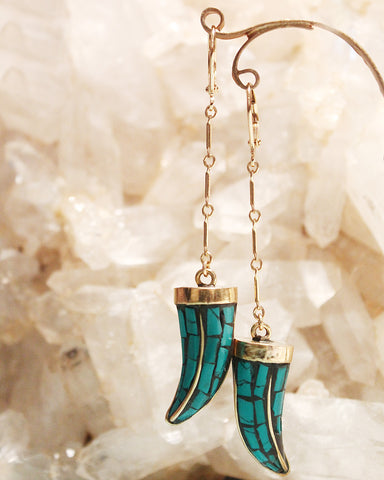 Turquoise inlaid horn drop earrings by Sage