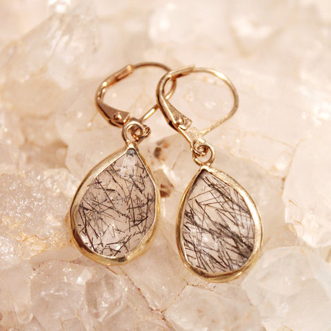 Tourmalated Quartz teardrop earrings by Sage