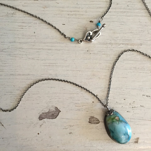 Turquoise Necklace by Sage, Arizona Blue Turquoise Pendant on Sterling Silver Chain by Sage Machado