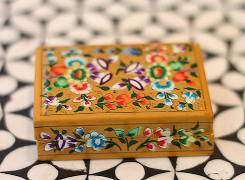 Hand Painted Trinket Jewelry Box in Folk Path