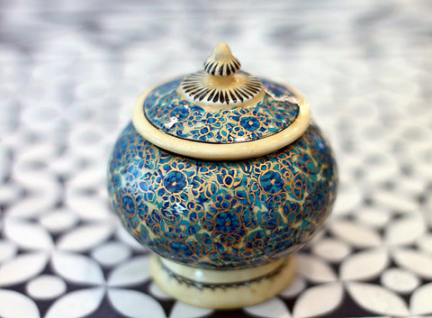 Hand Painted Temple Jewelry Box in Blue Blossom - The Sage Lifestyle