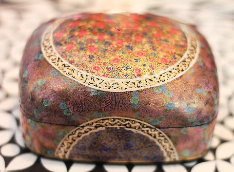 Hand Painted Jewelry Powder Box in Early Dawn