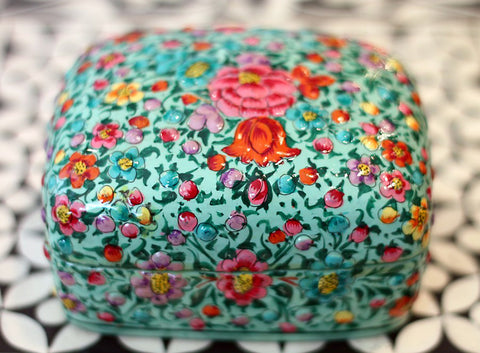 Hand Painted Jewelry Powder Box in Gypsy Spring