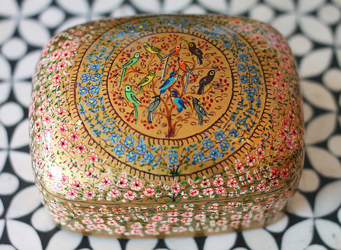 Hand Painted Jewelry Powder Box in Birds Wish - The Sage Lifestyle