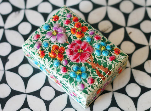 Hand Painted Jewelry Box in English Garden