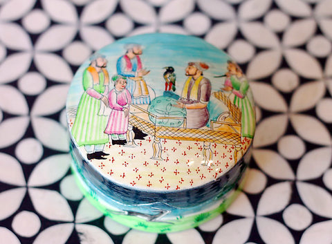Hand Painted Oval Jewelry Box in Fate