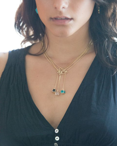 "Labradorite Cube on ""Y"" Chain - Mermaid Soul Necklace by Sage - The Sage Lifestyle"