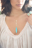 Turquoise Leaf Drop on Simple Chain - Mermaid Soul Necklace by Sage