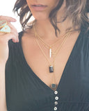 "Large Black Onyx Cube on ""Y"" Chain - Mermaid Soul Necklace by Sage"