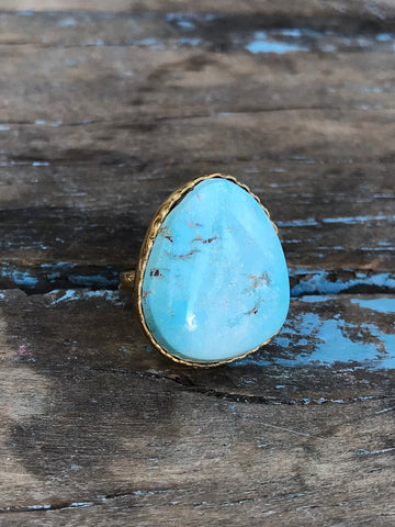 SKY BLUE TURQUOISE RING BY SAGE MACHADO, ARIZONA TURQUOISE ONE OF A KIND GOLD RING