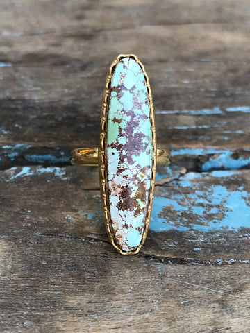 OVAL BLUE TURQUOISE RING BY SAGE MACHADO, ARIZONA TURQUOISE ONE OF A KIND GOLD RING