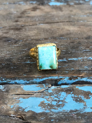 SQUARE SKY BLUE TURQUOISE RING BY SAGE MACHADO, ARIZONA TURQUOISE ONE OF A KIND GOLD RING - The Sage Lifestyle