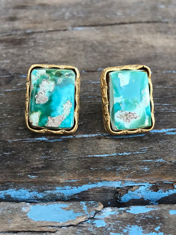 GOLD ARIZONA TURQUOISE SQUARE EARRINGS BY SAGE - The Sage Lifestyle