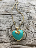 BLUE TURQUOISE HEART NECKLACE BY SAGE MACHADO, ARIZONA TURQUOISE GOLD NECKLACE - The Sage Lifestyle