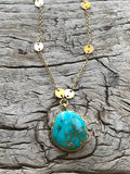 BLUE TURQUOISE LOTUS NECKLACE BY SAGE MACHADO, ARIZONA TURQUOISE GOLD NECKLACE - The Sage Lifestyle