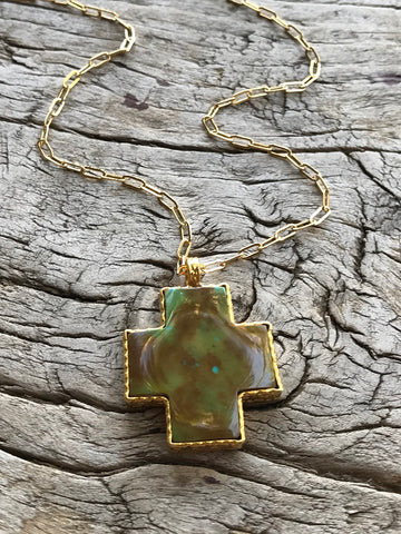 GREEN TURQUOISE CROSS NECKLACE BY SAGE MACHADO, ARIZONA GREEN TURQUOISE GOLD NECKLACE - The Sage Lifestyle